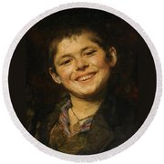 Laughing Boy Round Beach Towel