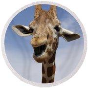 Laughing Giraffe Round Beach Towel