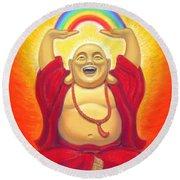 Laughing Rainbow Buddha Round Beach Towel