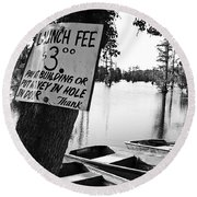 Launch Fee -bw Round Beach Towel
