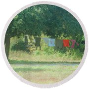 Laundry Hanging From The Tree Round Beach Towel