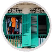 Laundry Hanging Seen Through Open Wood Shutter Windows Singapore Round Beach Towel
