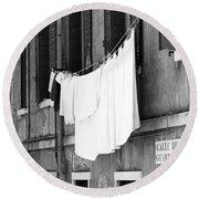 Laundry IIi Black And White Venice Italy Round Beach Towel