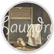 Laundry Room Sign Round Beach Towel