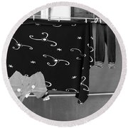 Laundry Vii Black And White Venice Italy Round Beach Towel