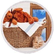 Laundry With Teddy Round Beach Towel