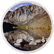 Laural Mountain Convict Lake California Round Beach Towel by Bob and Nadine Johnston