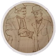 Laurel And Hardy - Thicker Than Water Round Beach Towel
