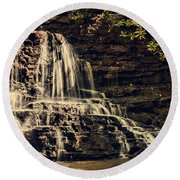 Laurel Run Falls Round Beach Towel