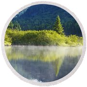 Laurentian Summer Morning Round Beach Towel