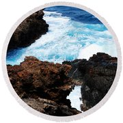 Lava Rock On Aruban Coast Round Beach Towel
