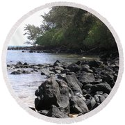 Lava Rocks Round Beach Towel