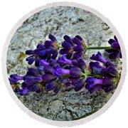 Lavender On White Stone Round Beach Towel