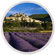 Lavender And Banon Round Beach Towel