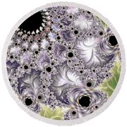 Lavender And Green Fractal Abstract  Round Beach Towel
