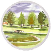 Lavender And Green Round Beach Towel