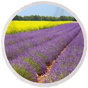 Lavender And Mustard Round Beach Towel