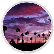 Lavender And Pink Round Beach Towel