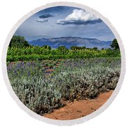 Lavender And Sunflowers Round Beach Towel
