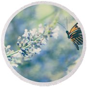 Lavender And The Butterfly Round Beach Towel