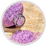 Lavender Bath Salts Round Beach Towel by Olivier Le Queinec