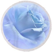 Lavender Blue Rose Flower Round Beach Towel