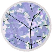 Lavender Blues Leaves Melody Round Beach Towel