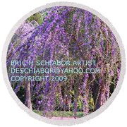 Lavender Butterfly Bush Round Beach Towel
