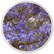 Lavender-colored Tree Blossoms Round Beach Towel