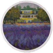 Lavender Farm On Vashon Island Round Beach Towel
