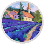 Lavender Field In St. Columne Round Beach Towel