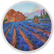 Lavender Field Provence Round Beach Towel