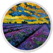 Lavender Fields At Dusk Round Beach Towel
