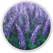Lavender Garden II Round Beach Towel