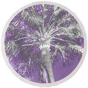 Lavender Glow Palm Tree Myakka River State Park Usa Round Beach Towel