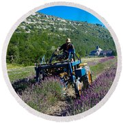 Lavender Harvest In Provence Round Beach Towel