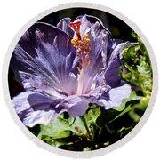Lavender Hibiscus Round Beach Towel