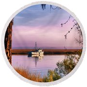 Lavender Light Reflections Round Beach Towel