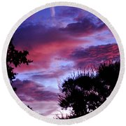 Lavender Pink And Blue Sunrise Round Beach Towel
