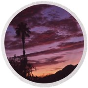 Lavender Red And Gold Sunrise Round Beach Towel