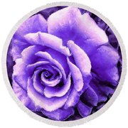 Lavender Rose With Brushstrokes Round Beach Towel