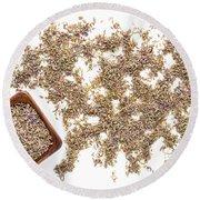 Lavender Seeds Round Beach Towel
