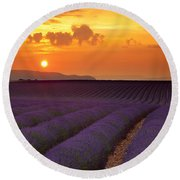 Lavender Sunset Round Beach Towel
