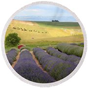 Lavender Valley Round Beach Towel by Carol Groenen