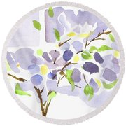 Lavender With Missouri Dogwood In The Window Round Beach Towel