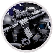 Law Enforcement Tactical Sheriff Round Beach Towel