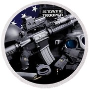 Law Enforcement Tactical Trooper Round Beach Towel by Gary Yost