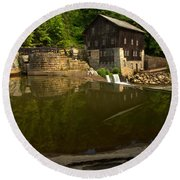 Lawrence County Grist Mill Round Beach Towel