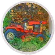 Lawn Tractor And Wood Pile Round Beach Towel