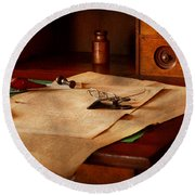 Lawyer - Optician - Reading The Fine Print  Round Beach Towel by Mike Savad